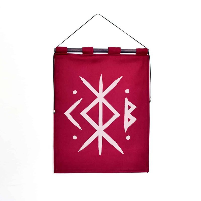 bindrune tapestry burgundy home protection