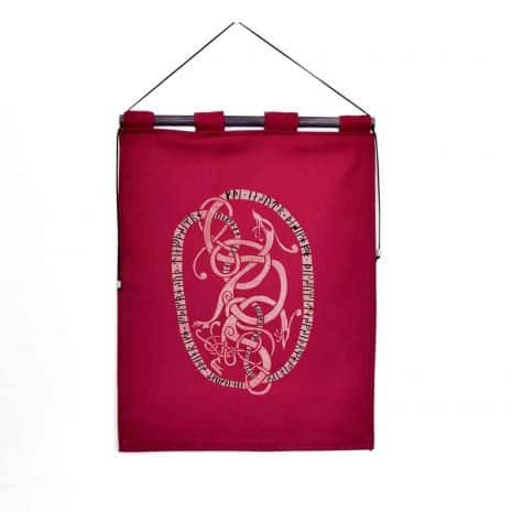 runestone tapestry burgundy custom message