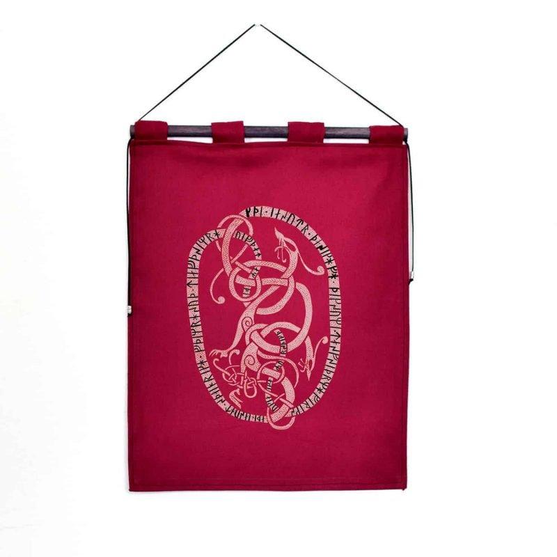 runestone tapestry burgundy custom message