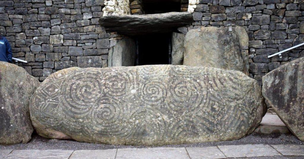 Newgrange's famous Portal Stone with the Triple Spiral